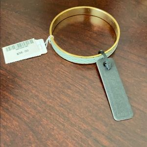 NWT J. Crew Chevron Gold / Blue-Gray Bangle